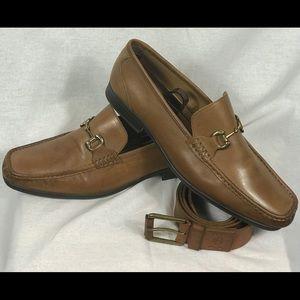 Men's Brown Giorgio Brutini Buckle Loafers W/Belt